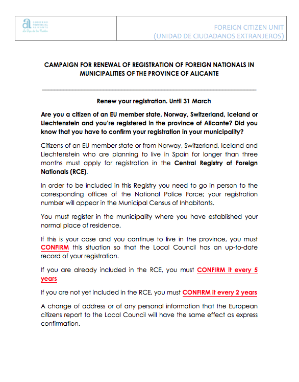 Campaign for renewal of registration of foreign nationals in municipalities of the province of Alicante