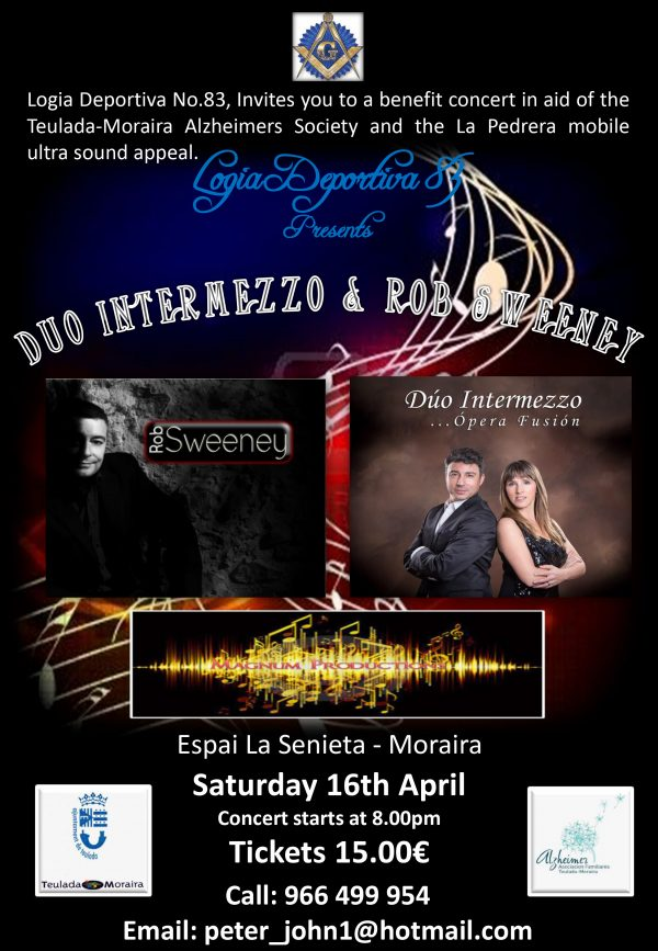 Charity Benefit Concert Featuring Duo Intermezzo & Rob Sweeney Sat. 16th April.