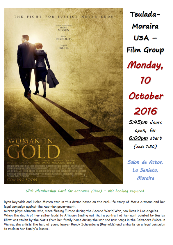 Film 10th October: The Woman in Gold