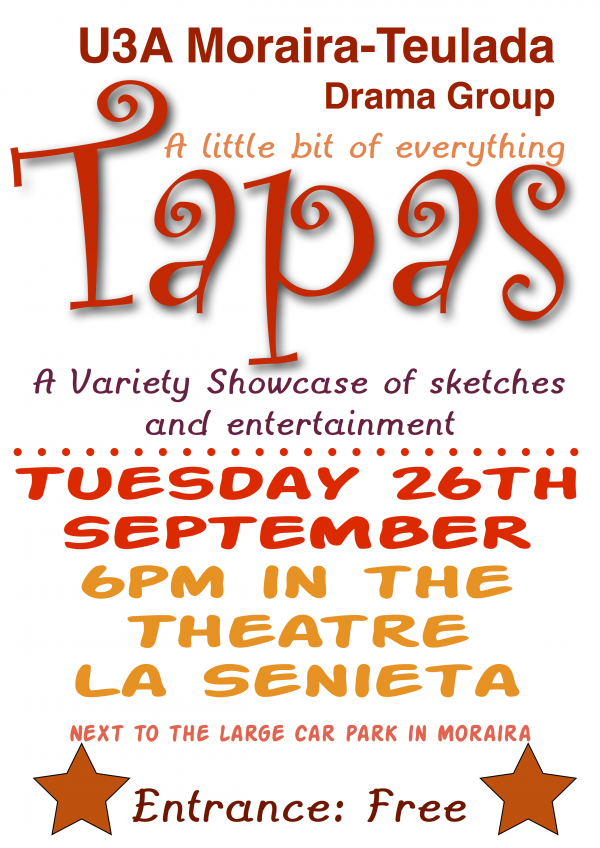 26 Sept 18:00 Drama Group presents: Tapas - a little bit of everything