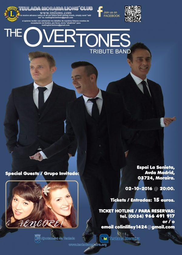 16/09/02 - Sunday, 2 October - TMLions - The Overtones Tribute Band