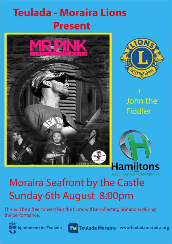 Sunday 6th August. Teulada – Moraira Lions Club 2nd Free Summer Concert